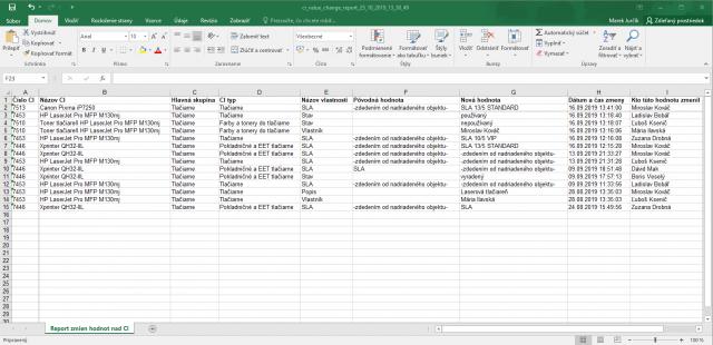 XLS report o zmene konfiguračných objektov