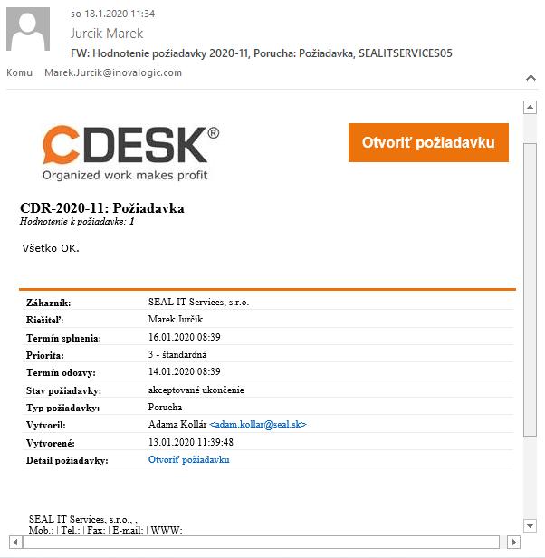 Mailová notifikácia k hodnoteniu požiadavky