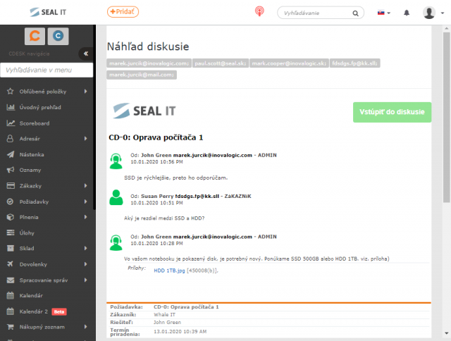 Zobrazenie náhľadu mailovej notifikácie k diskusii pred jej odoslaním