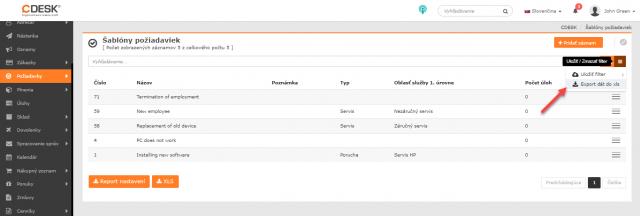 Export šablón požiadaviek cez kontextové menu