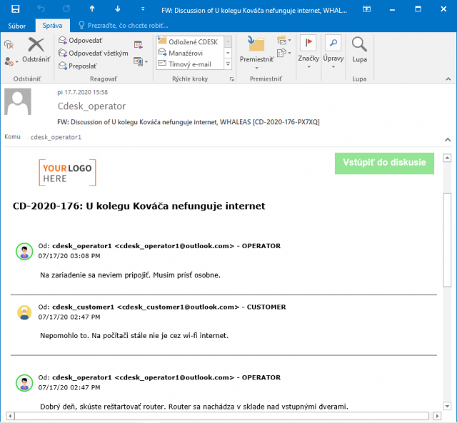 Zobrazenie avatarov v mailovej notifikácii o diskusii na požiadavke