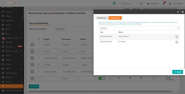 Výber používateľov pre notifikovanie ku konkrétnemu typu požiadavky