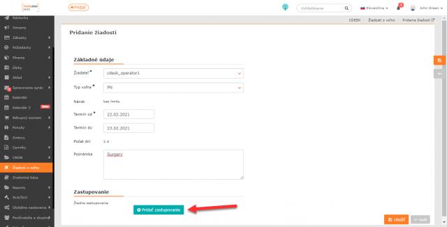 Formulár pre vytvorenie žiadosti a tlačidlo pre nastavenie zastupujúceho
