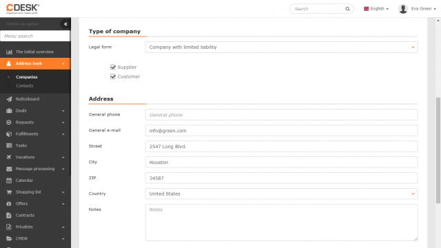 Úprava záznamu spoločnosti - typ a kontaktné údaje