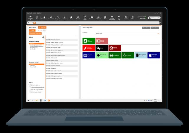 Katalóg požiadaviek cez CDESK Klienta na operačnom systém Windows