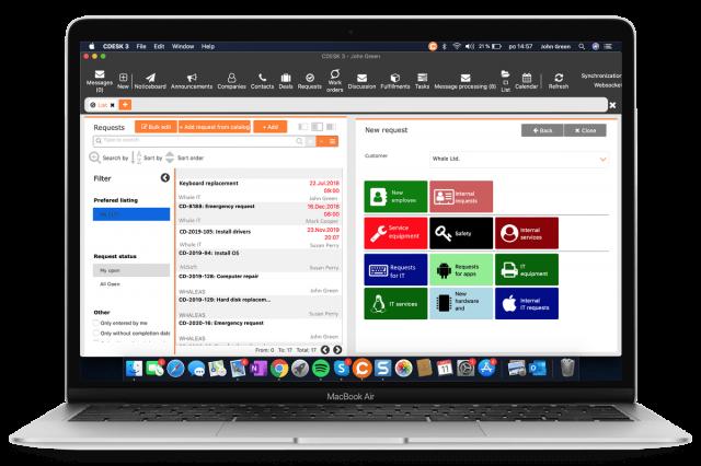 Katalóg požiadaviek cez CDESK Klienta na operačnom systéme MacOS