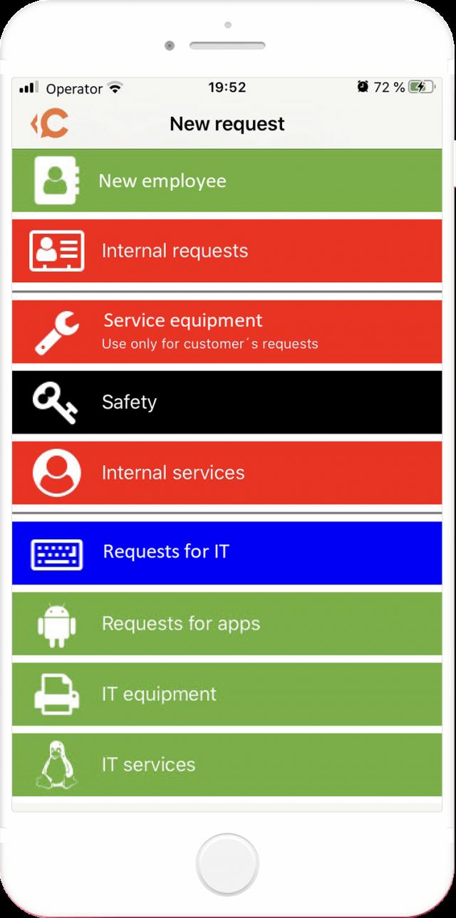 Katalóg požiadaviek cez mobilnú aplikáciu CDESK spustenú na operačnom systéme iOS