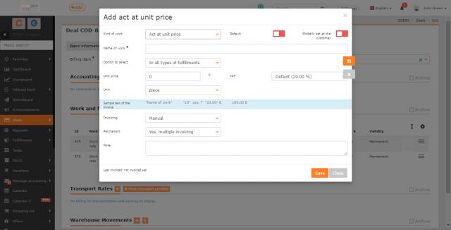 Nastavenie položky Úkony za jednotkovú cenu