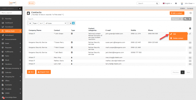Editácia kontaktu cez kontextové menu