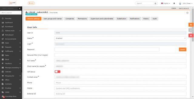Formulár pre editáciu účtu používateľa