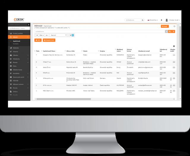 Adresár – prehľadný zoznam spoločností a kontaktov