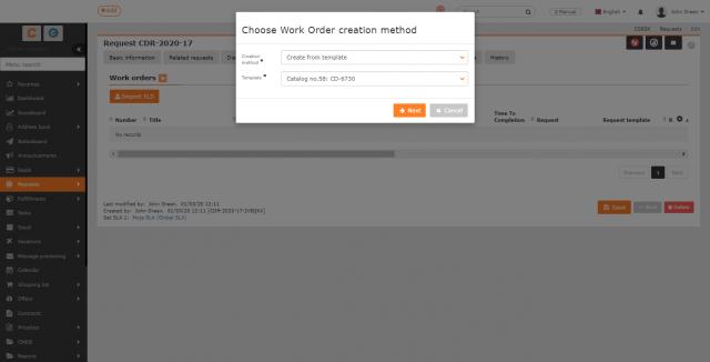 Vytvorenie pracovného príkazu zo šablóny pracovných príkazov