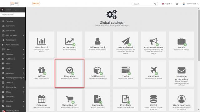 Umiestnenie modulu Požiadavky v Globálnych nastaveniach