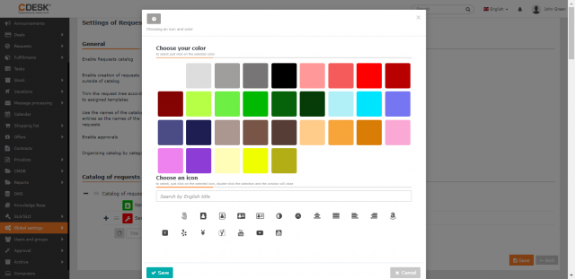 Nastavenie farby a ikony ku kategórii katalógu požiadaviek