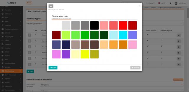 Nastavenie farby pre typ požiadavky