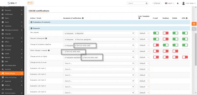 """Nastavenie """"používateľa pre oblasť služby"""" v notifikáciách kpožiadavkám (Glob. nastavenia-> notifikácie"""