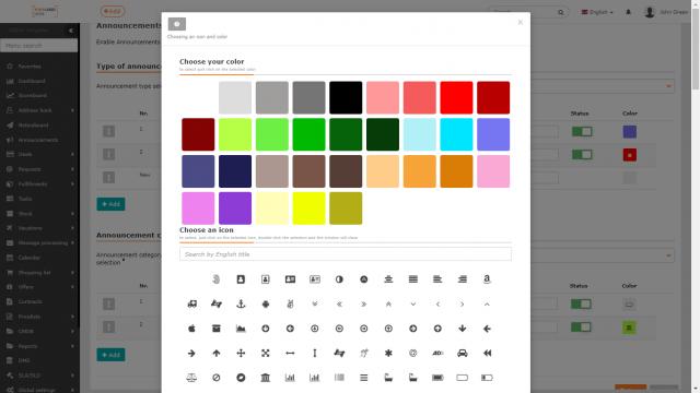 Nastavovanie ikony a farby nového typu / novej kategórie
