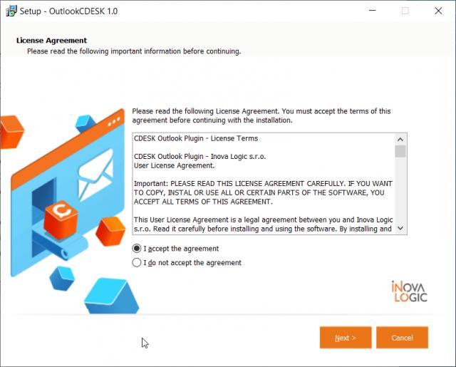 Odsúhlasenie zmluvných podmienok programu Outlook Plugin