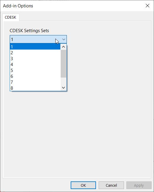 Okno pre pridanie ďalších CDESK účtov do Outlook Pluginu
