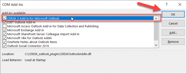 Povolenie doplnku CDESK Outlook Plugin