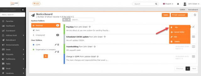 Pripínanie príspevku cez kontextové menu