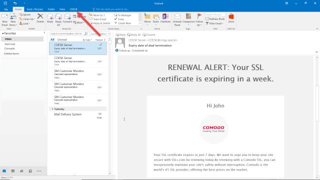 Tlačidlo, ktoré sa zobrazuje v Outlooku po nainštalovaní doplnku CDESK Outlook Plugin