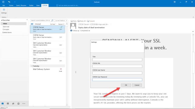 Tlačidlo na potvrdenie konfigurácie CDESK Outlook Pluginu