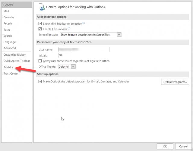 Tlačidlo na spravovanie doplnkov v Outlooku