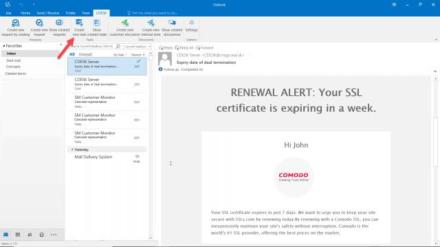 Tlačidlo na vytovrenie úlohy z mailu
