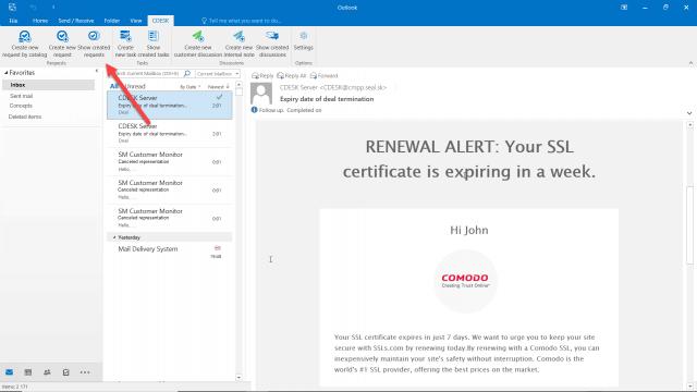 Tlačidlo na zobrazenie požiadaviek vytvorených z mailu