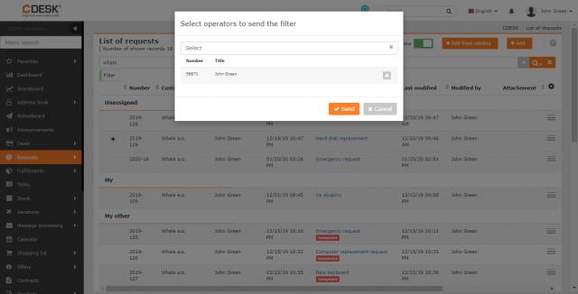 Výber operátorov, ktorým bude filter odoslaný
