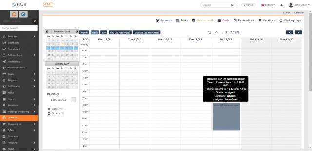 Zobrazenie požiadavky v kalendári