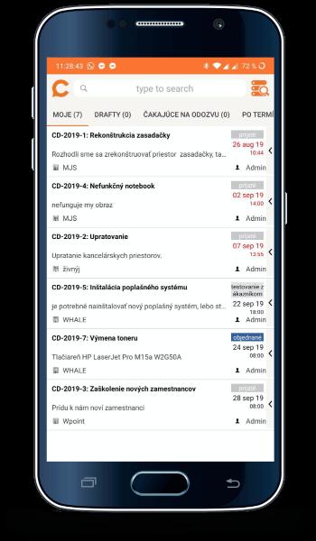Android verzia mobilnej aplikácie CDESK