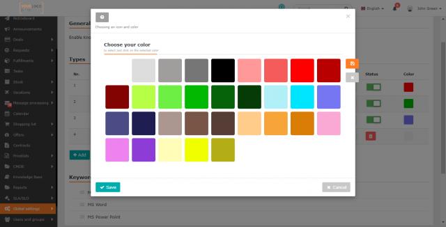 Výber farieb pre typy v znalostnej báze