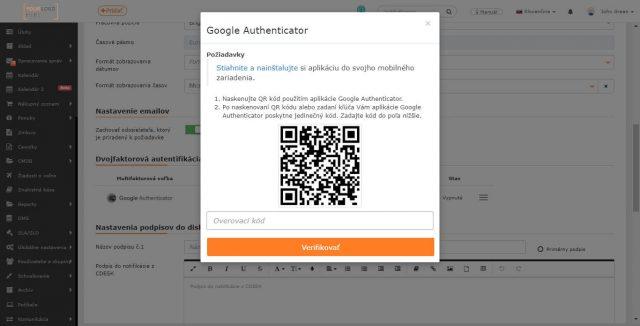 Nastavenie dvojfaktorovej autentifikácie