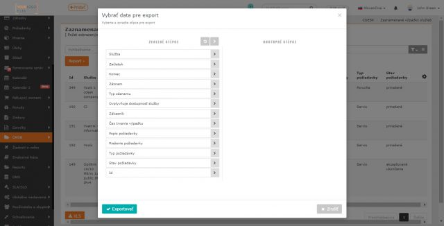 Výber stĺpcov pre export zoznamu výpadkov služieb