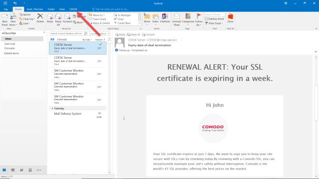 Tlačidlo CDESK v aplikácii Microsoft Office Outlook