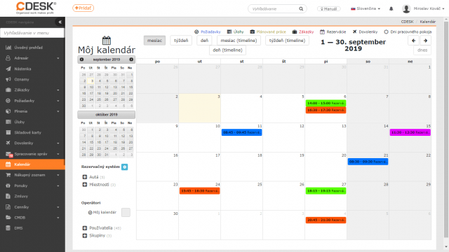 Rezervácie v kalendári