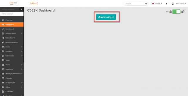 Tlačidlo na pridávanie widgetov na úvodný prehľad
