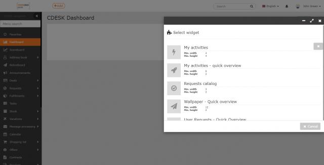 Výber widgetov pre úvodný prehľad