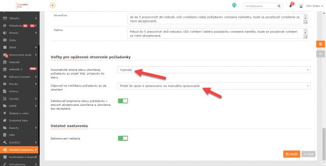 Nastavenie, aby sa odpoveď na notifikáciu o ukončenej požiadavke nespracovala ako notifikácia