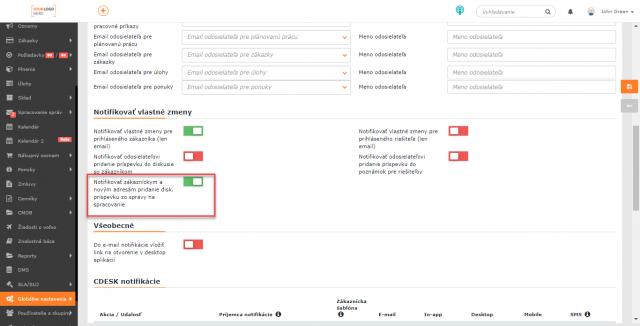 Nastavenie pre vypnutie odosielania notifikácií o pridaní diskusného príspevku zo správ na spracovanie