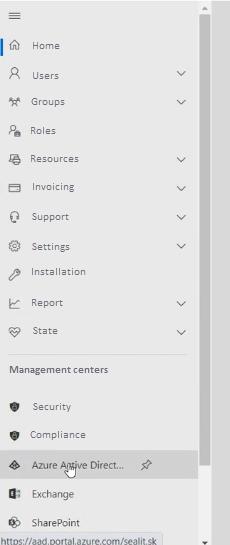 Aplikácia Azure Active Directory v menu správcu