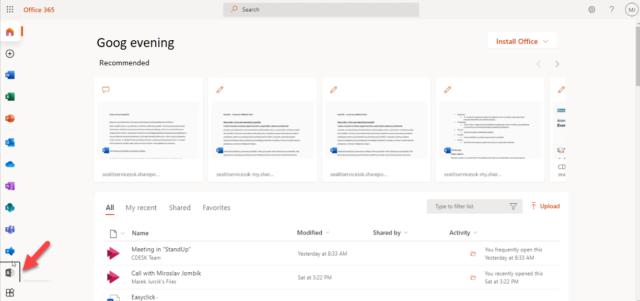 Aplikácia Správca medzi Office 365 aplikáciami