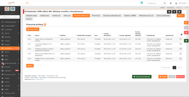 Automaticky vygenerované pracovné príkazy na požiadavke