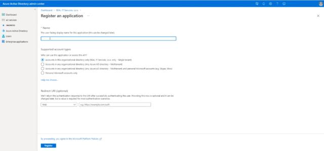 Formulár pre registráciu aplikácie Azure AD