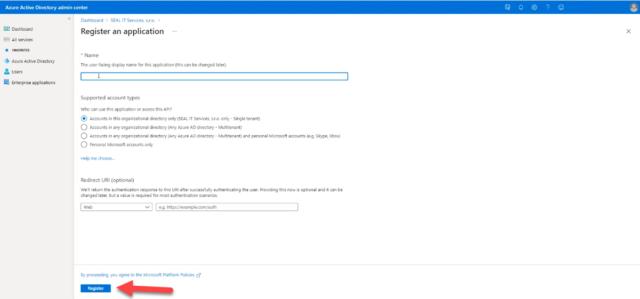 Tlačidlo pre registráciu aplikácie